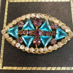 Topaz and amethyst glass vintage deco pin